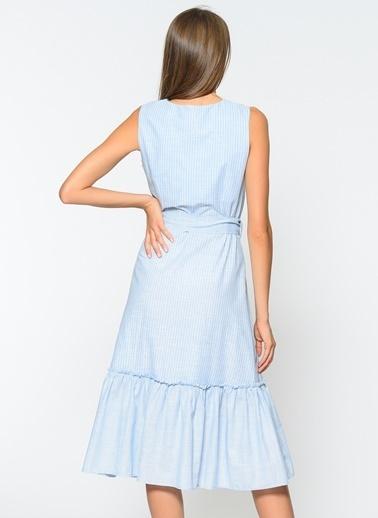 Çizgi Detaylı Elbise-Agenda